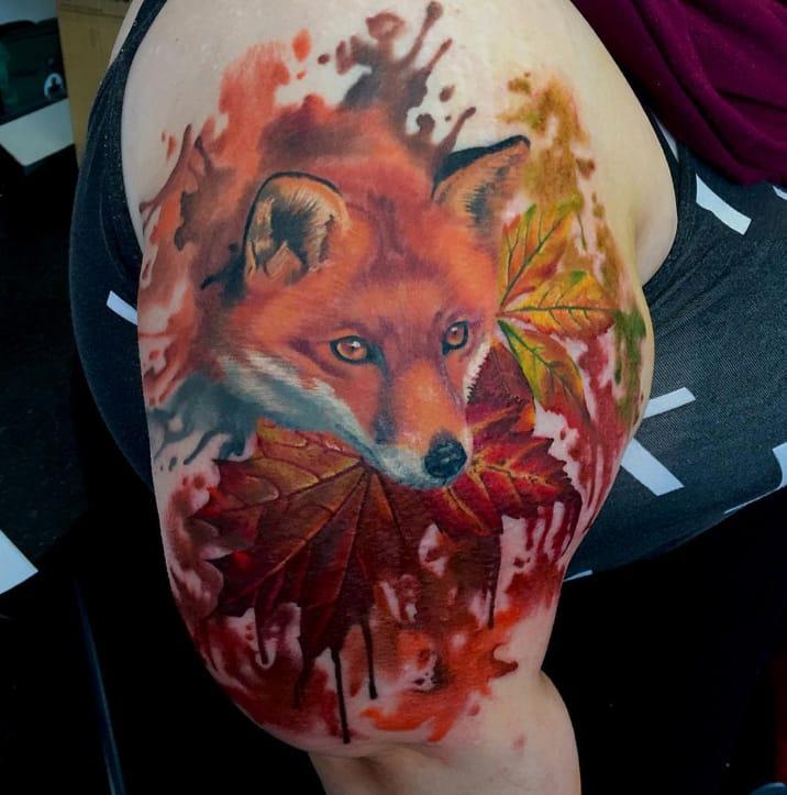 Watercolor fox tattoo by Kina Turner, Essex, UK.