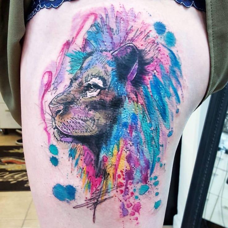 Lion tattoo by Joanne Baker, UK.