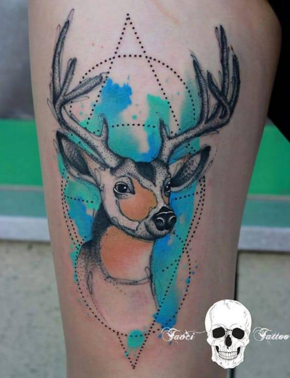 Bright blue stag tattoo by Simona Borstnar.