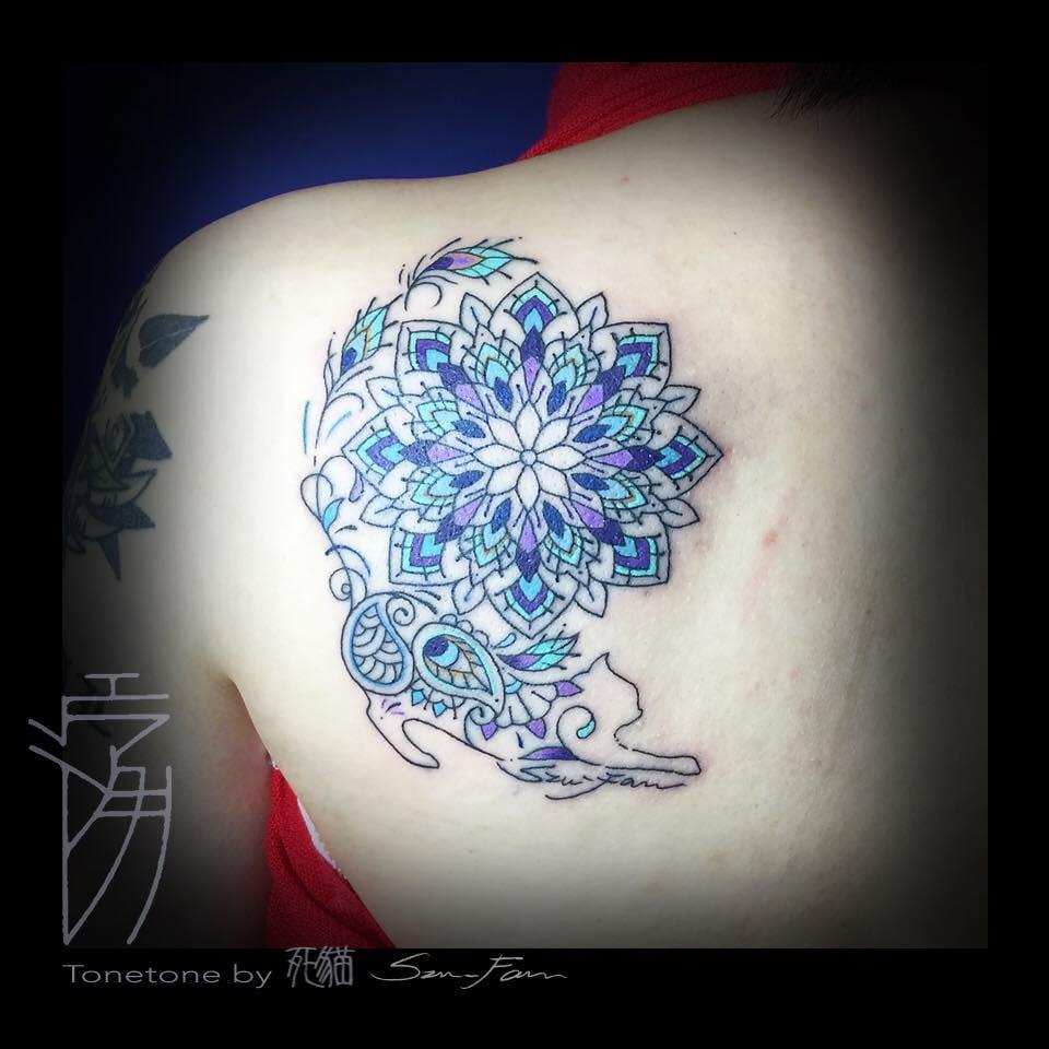 Cat mandala tattoo by Szu-Fan.