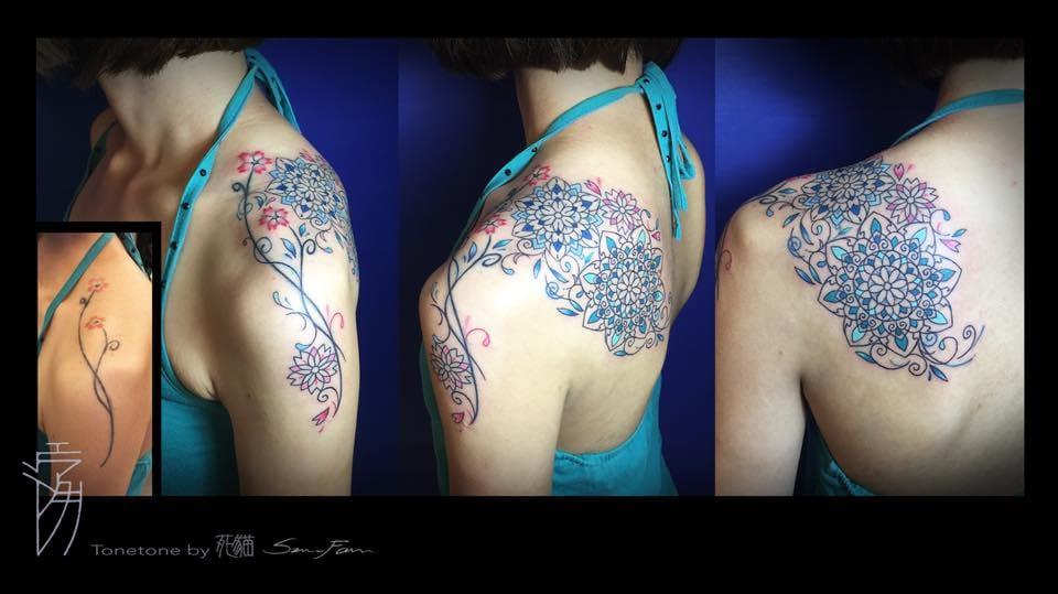 Shoulder cover-up, multiple colorful mandalas.