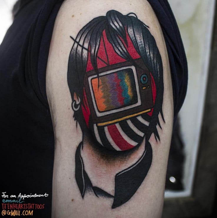 Television tattoo by Teen Hearts Tattoo.