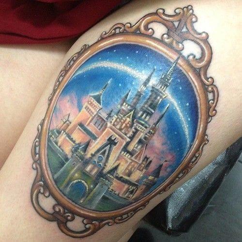Beautiful & star-filled Walt Disney castle! Artist unknown