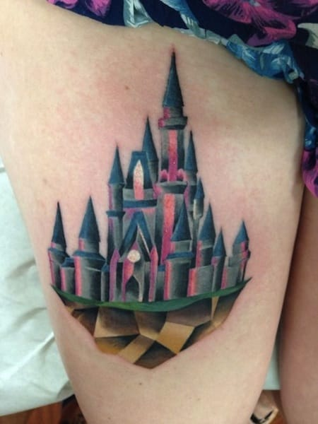 Pretty colors on this Castle Tattoo by Ivan Anderson