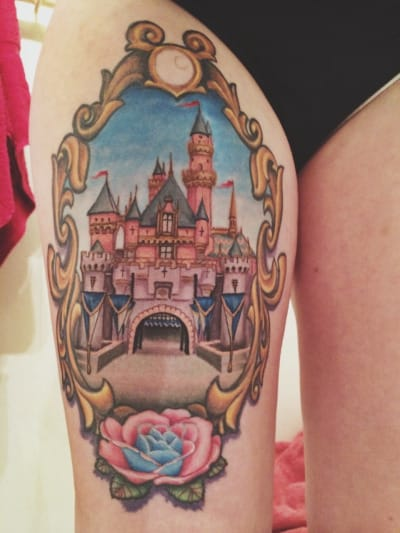 Dreamy and framed magical princess castle tattoo