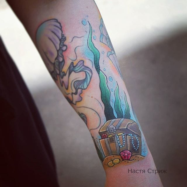 Treasure Chest Tattoo by Nastia Strizh