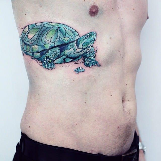 Faceted tattoo by Alisa Tesla. #Turtle #TurtleTattoo