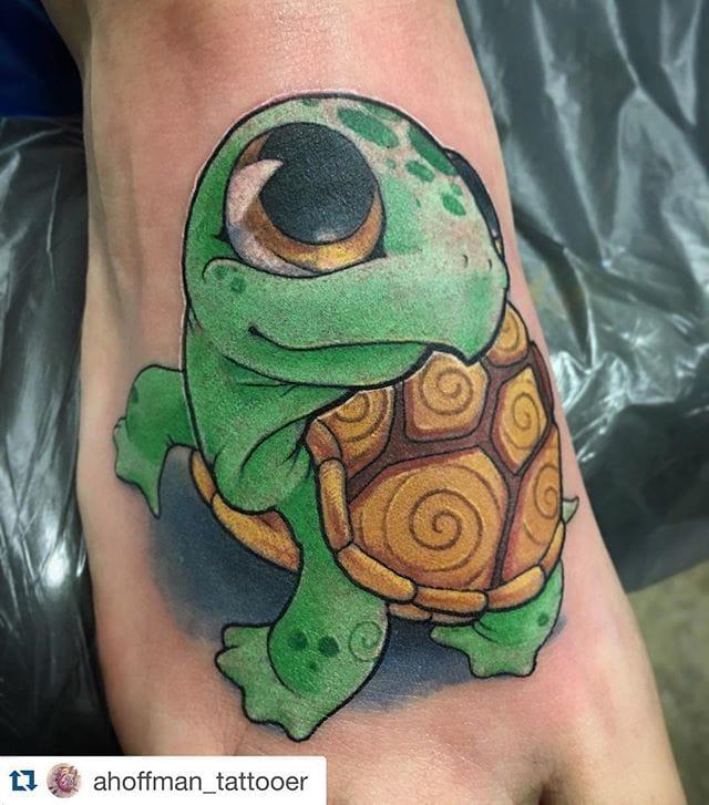 Cute foot tattoo by Andrew Hoffman. #Turtle #TurtleTattoo