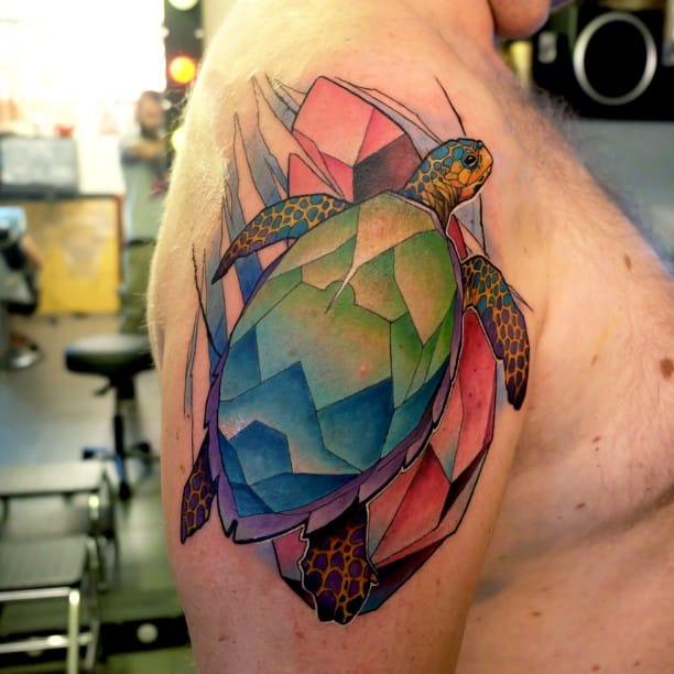 "The colorful work of Dusty ""Duza"" Brasseur. #Turtle #TurtleTattoo"