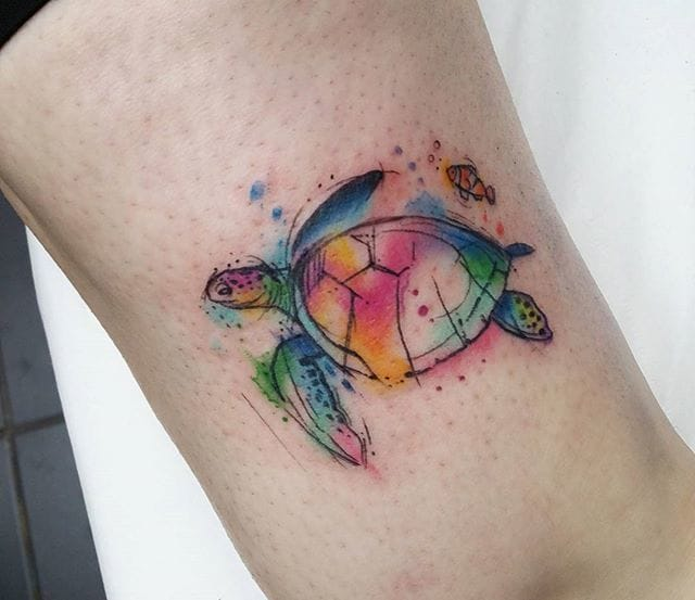 Watercolor tattoo by Josie Sexton. #Turtle #TurtleTattoo