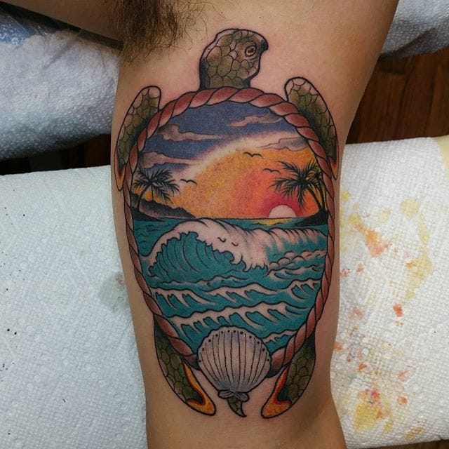 Awesome exotic scene by Philip Maier. #Turtle #TurtleTattoo
