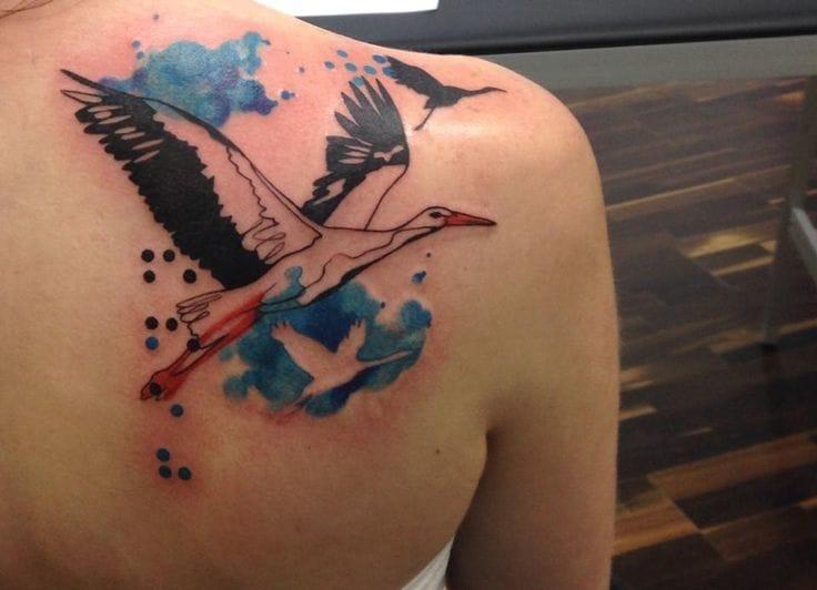 Watercolor tattoo by Sara Rosenbaum.
