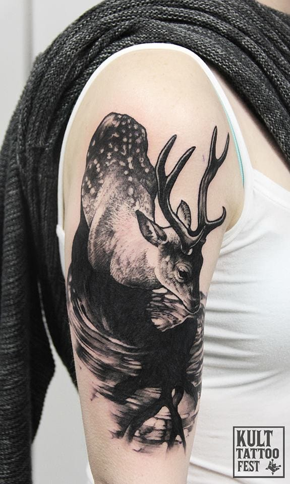 Great deer tattoo.