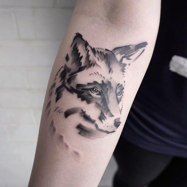 Sumi-e fox.