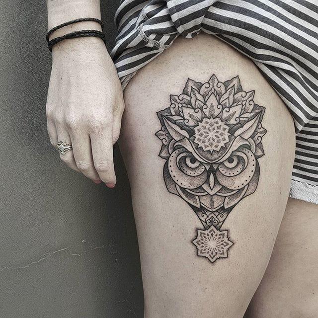 Mandala owl tattoo by Ben Doudakis.