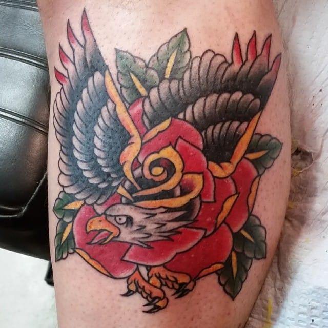Eagle Rose Morph Tattoo by Eddie Campagna