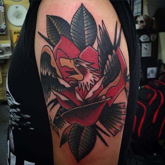 Rose Eagle Morph Tattoo by Boston Chambers