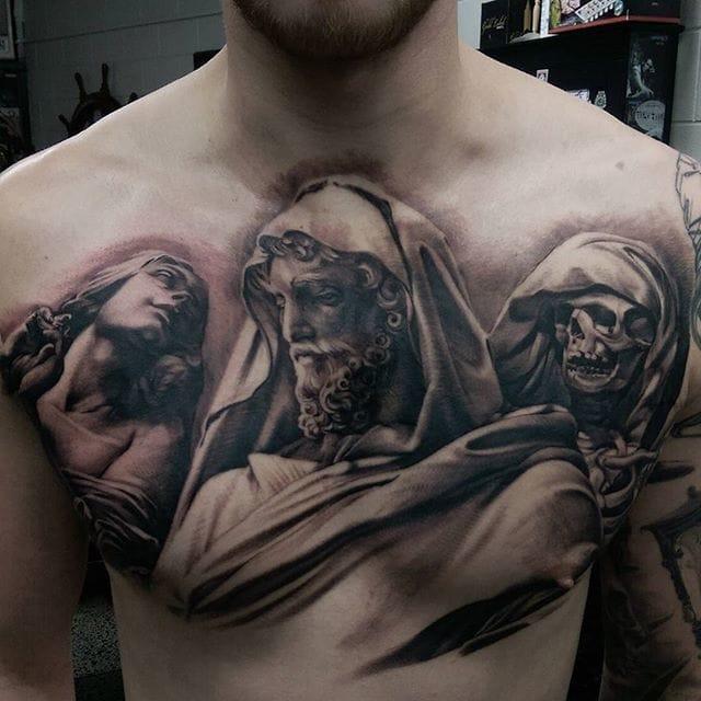 Chest Tattoo by Matt Jordan