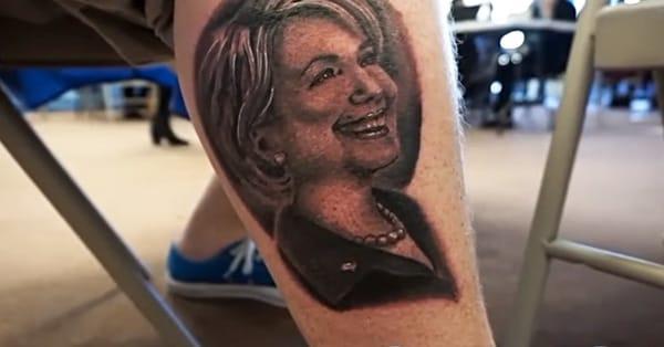 Hillary Clinton portrait tattoo