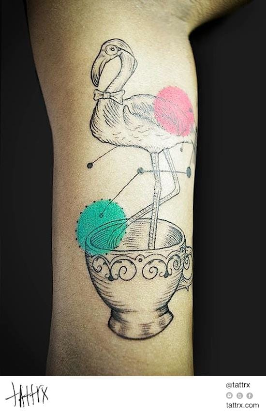 You can find many strange things in teacup, even flamingos! By Farfalla Ink.
