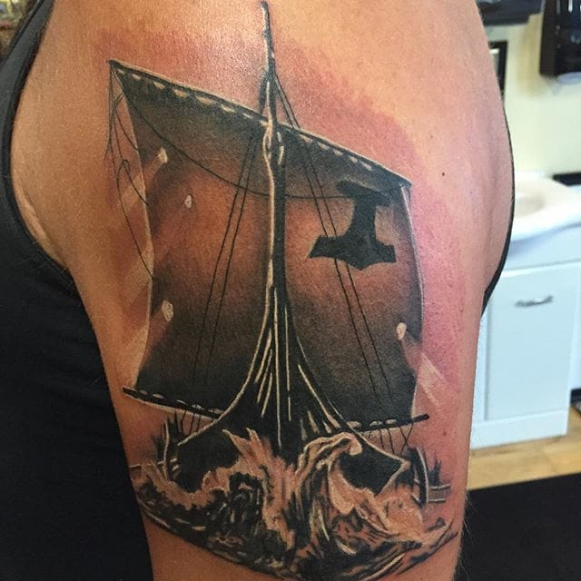 Viking Ship Tattoo by Jay Purdy