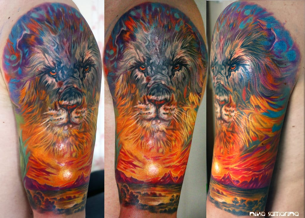 Amazing painter style Sunset Tattoo by Nika Samarina
