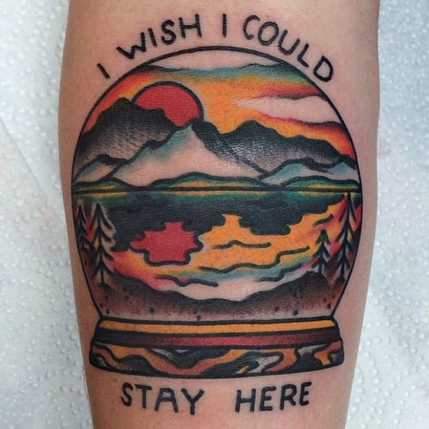 I wish I could stay here, beautiful sunset tattoo.