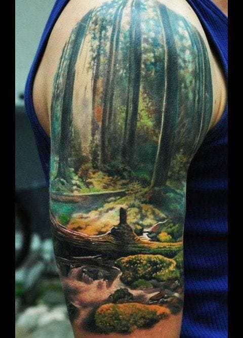 Save the trees. Preserve our rainforests. Stand up for the environment. Nature tattoo