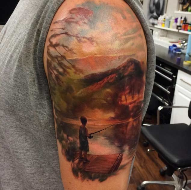 Awesome painter style tattoo by unknown artist. Pls let us know if you know!