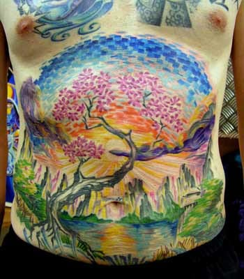 Refreshing colors in this front piece Sunrise Tattoo by Osawahn