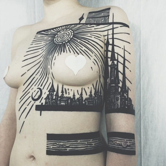 Awesome blackwork Sunrise Tattoo by Thieves of Tower