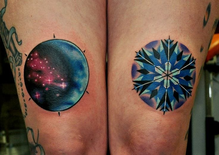 Some of nature's wonders... the stars and a snowflake. Tattoo by Marcin Surowiec.