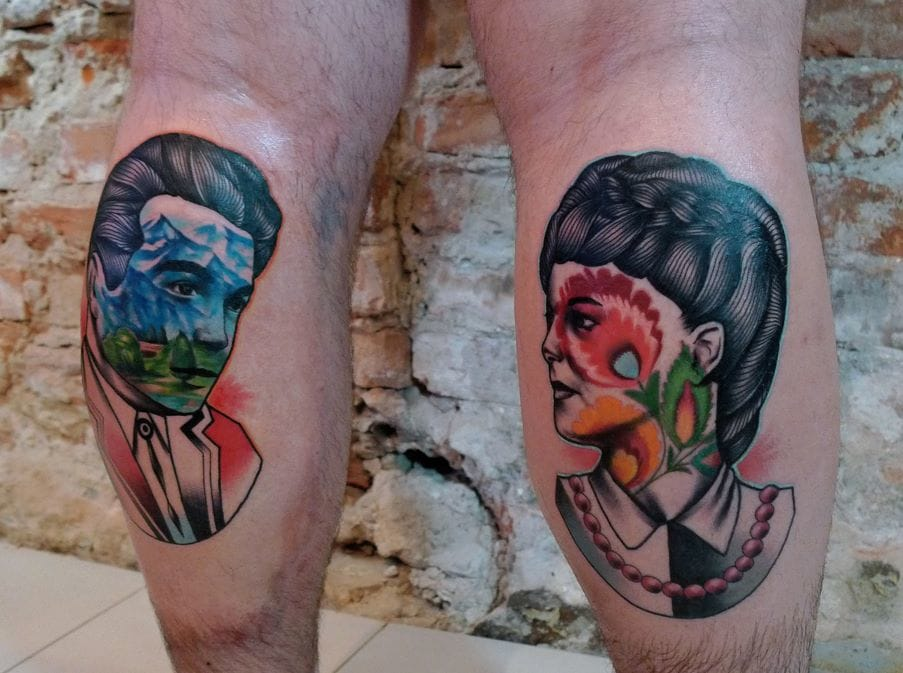 Colorful & Surreal Portrait Tattoos by Mariusz Trubisz