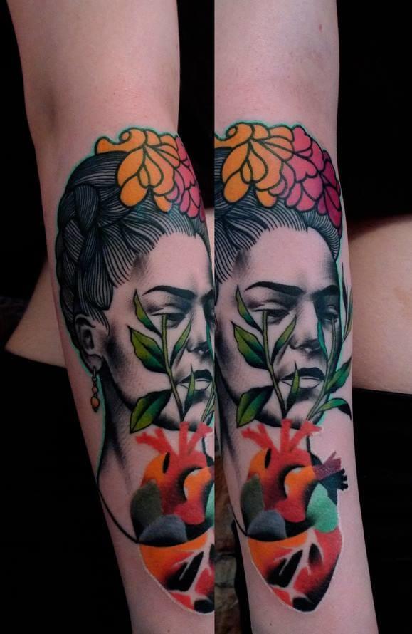 Mixed styles portrait tattoo by Mariusz Trubisz