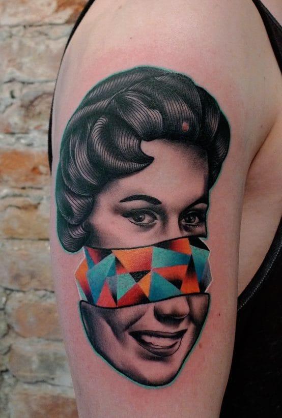 B/W feat. color portrait tattoo by Mariusz Trubisz