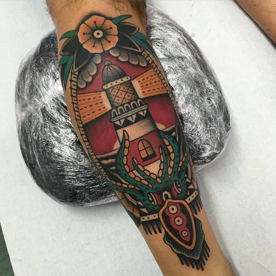 Bold Lighthouse Tattoos by Almagro Tattooer