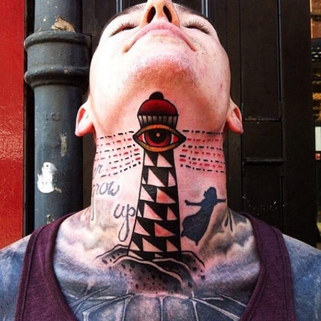 Throat Lighthouse Tattoo by Almagro Tattooer