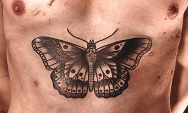Close up on Harry's chest moth