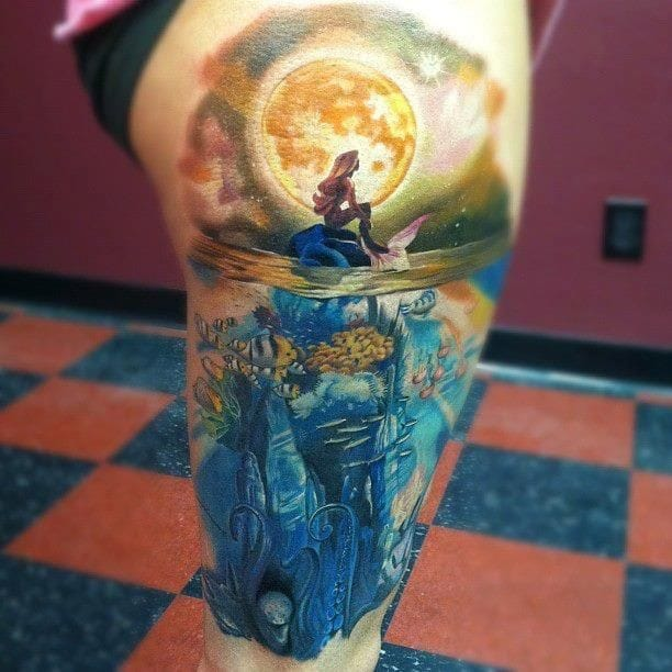 With all the vastness of the universe and multitude of species, would you believe that there is actually a mermaid? Tattoo artist: Daniel Rocha