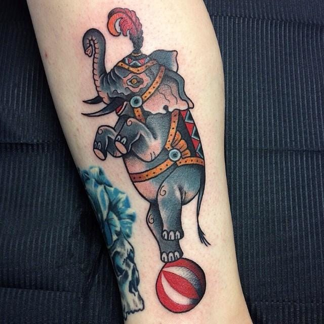 Clean and solid circus elephant tattoo.