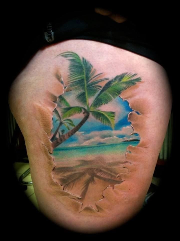 Makes you wanna jump right in. Ocean tattoo.