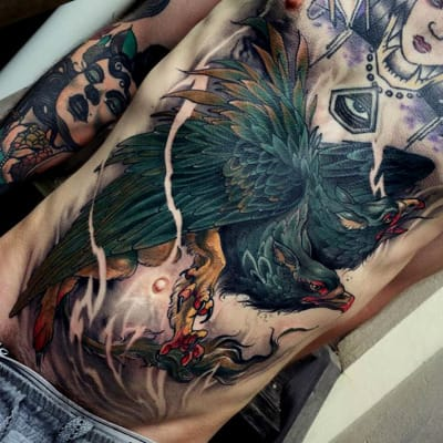 This must've HURT. Stomach tattoo by Dean Kalcoff.