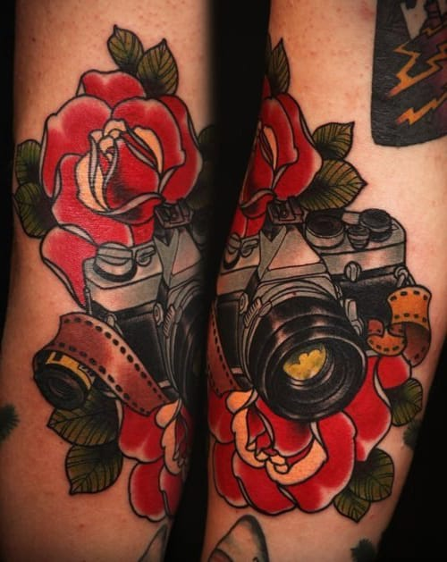 9 Solid Traditional Camera Tattoos