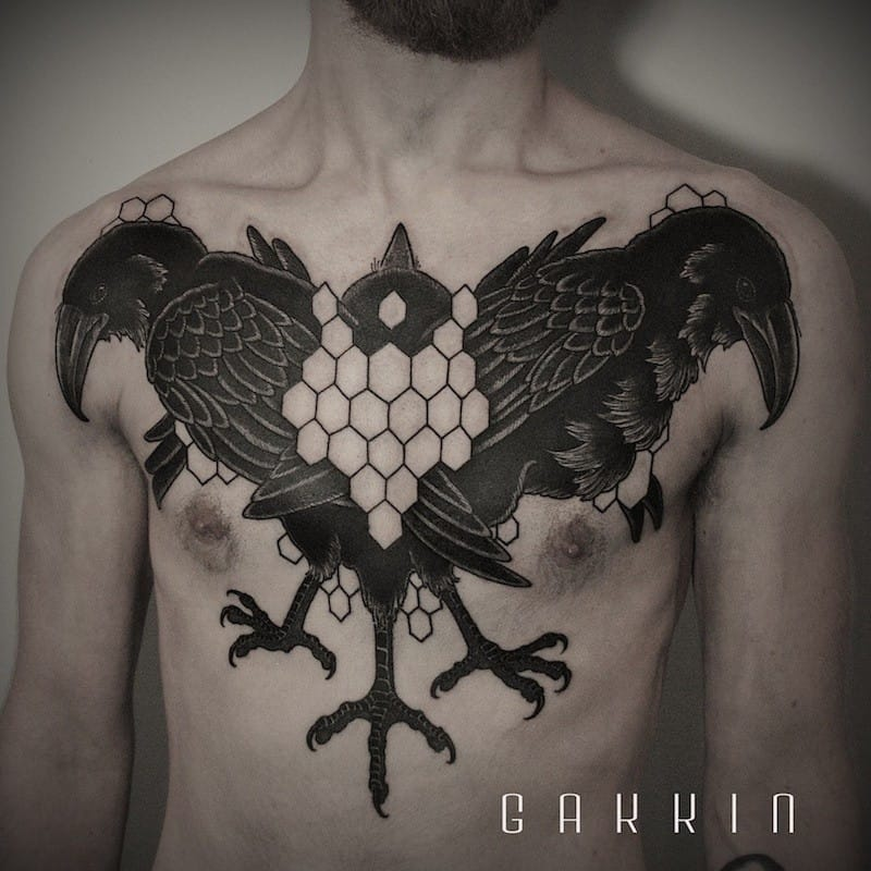 Chest tattoo by Gakkin