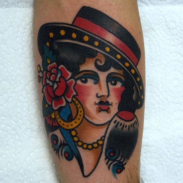 Spanish girl head tattoo by Christian Otto