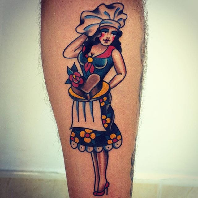 Cook pin-up tattoo by Christian Otto