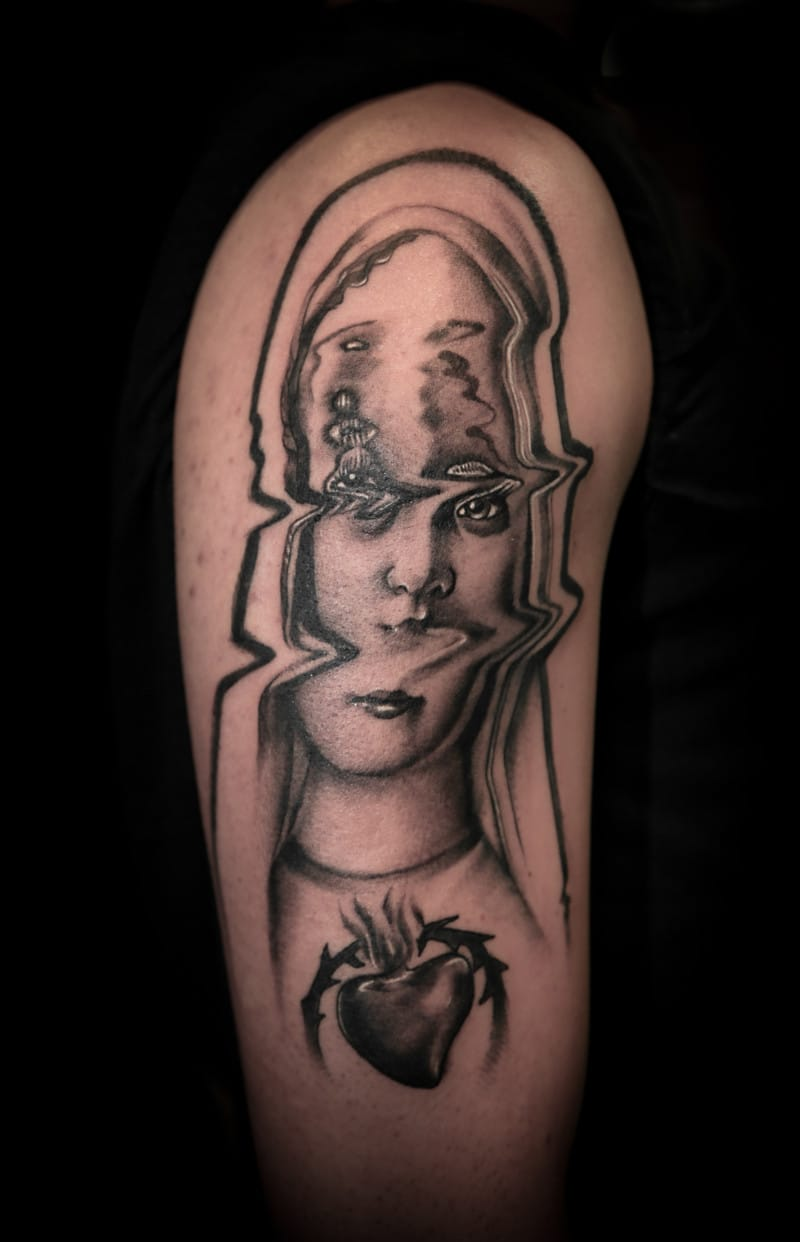 Virgin Mary tattoo by Pietro Sedda