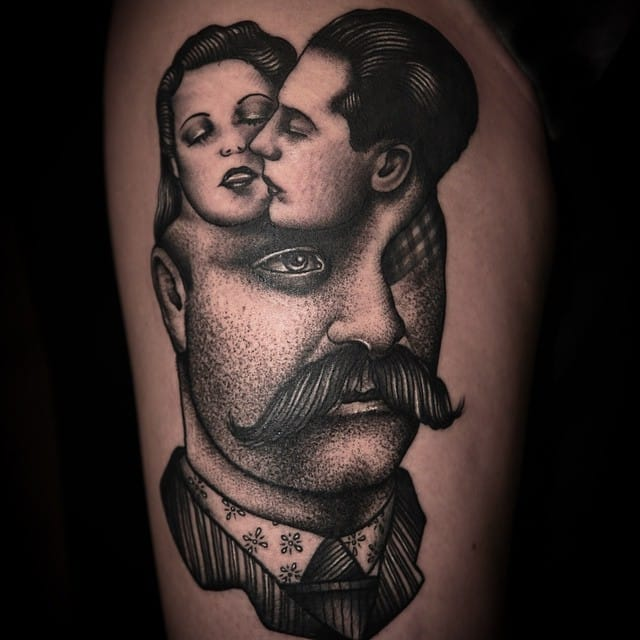 A portrait of jealousy. Tattoo by Pietro Sedda