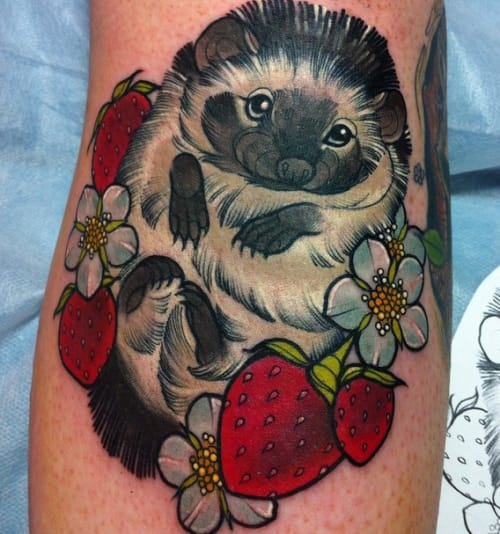 Hedgehog tattoo with strawberries!