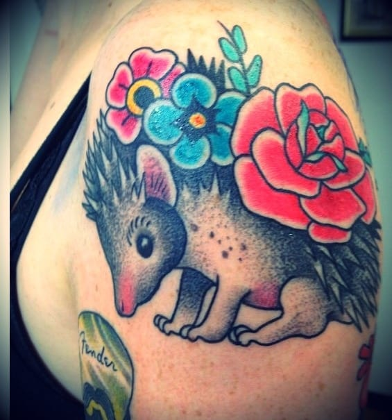 Traditional style hedgehog with flowers
